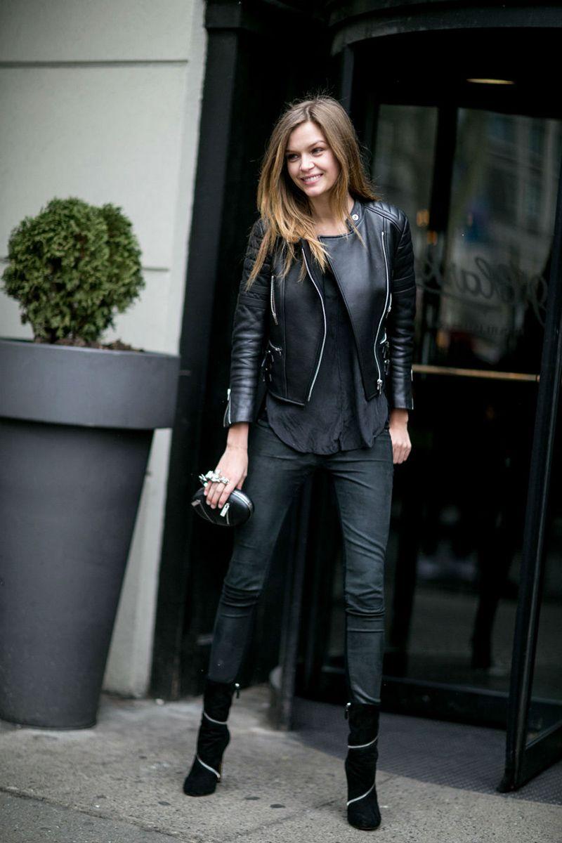 фото кожаная куртка косуха женская